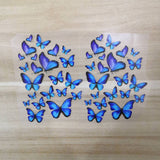 Various Sizes Blue Butterfly Patches,Heat Transfer Butterfly Stickers for Custom/DIY Sneakers, 2 Sheets/ Set