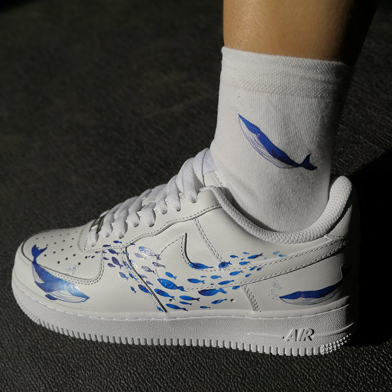 Ocean Theme Custom AF1 With Two Whales Hunting Fishes