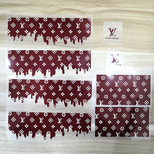wine red drip lv patches for custom shoes