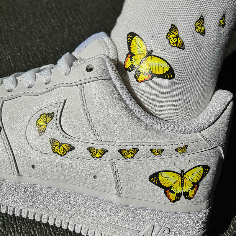 Custom Sneaker Nike Air Force 1 With Yellow Butterflies And 1 Pair Matching Socks For Free
