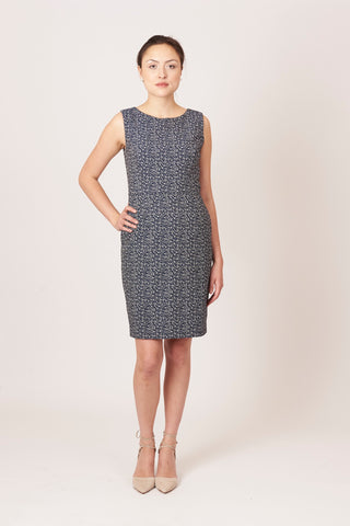Olympia Dress - Navy and White Jacquard