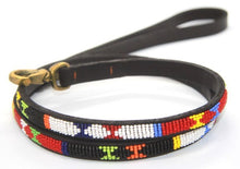"Load image into Gallery viewer, Beaded leather Toy & Small Dog Lead - 1/2"" (1.5cm) wide - 44"" (112cm) long"