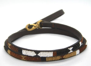 "Beaded leather Toy & Small Dog Lead - 1/2"" (1.5cm) wide - 44"" (112cm) long"