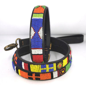 "Beaded leather XL/Mountain Dog Collar - Neck size 21""-23"" (53-59cm) 1"" (3cm) wide"