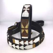 "Load image into Gallery viewer, Beaded leather XL/Mountain Dog Collar - Neck size 21""-23"" (53-59cm) 1"" (3cm) wide"