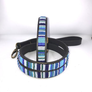"Beaded leather Medium Dog Collar - Neck size 15""-17"" (38-44cm) 3/4"" (2cm) wide"
