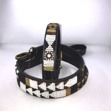 "Load image into Gallery viewer, Beaded leather Small Dog Collar - Neck size 12""-14"" (30-36cm) 3/4"" (2cm) wide"