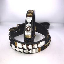 "Load image into Gallery viewer, Beaded leather Medium Dog Collar - Neck size 15""-17"" (38-44cm) 3/4"" (2cm) wide"