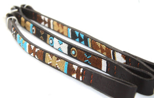 "Beaded leather Pony, Cob & Horse Brow-bands 3/4"" (2cm) wide"