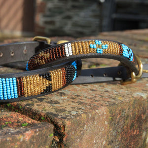 "Beaded leather Small Dog Collar - Neck size 12""-14"" (30-36cm) 3/4"" (2cm) wide"