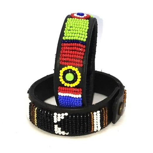 Beaded leather wrist bands