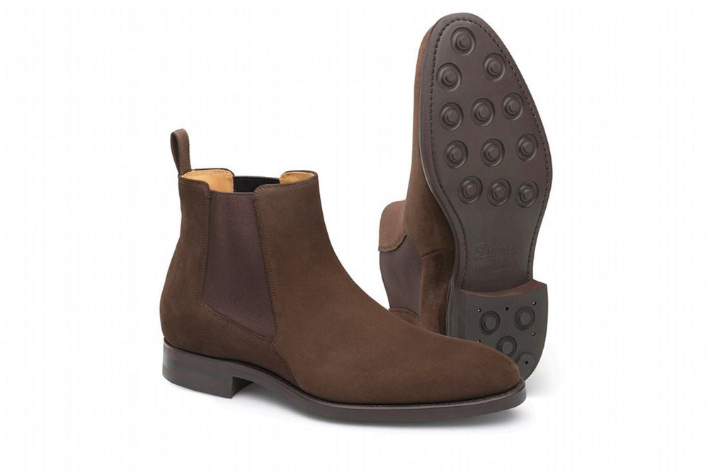 Carlos Santos 7902 Chelsea Boots in Dark Brown Suede for The Noble Shoe - Dainite Sole
