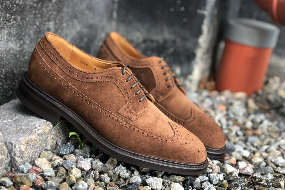 Carlos Santos 1046 Longwing Brogue in Mid Brown Suede for The Noble Shoe 9