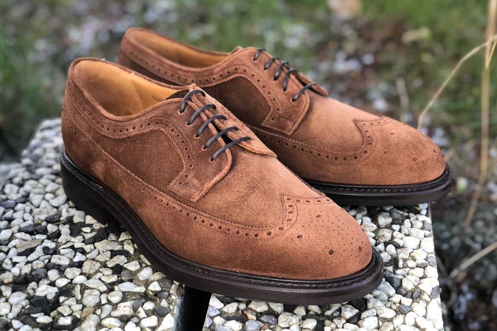 Carlos Santos 1046 Longwing Brogue in Mid Brown Suede for The Noble Shoe 2