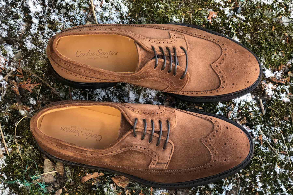 Carlos Santos 1046 Longwing Brogue in Mid Brown Suede for The Noble Shoe 5
