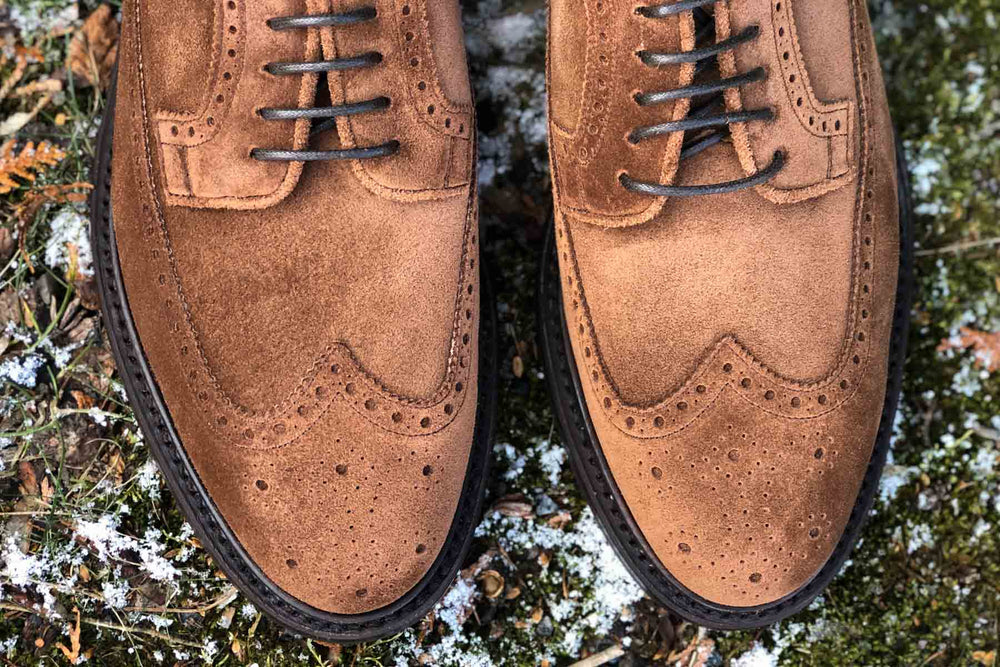 Carlos Santos 1046 Longwing Brogue in Mid Brown Suede for The Noble Shoe 4