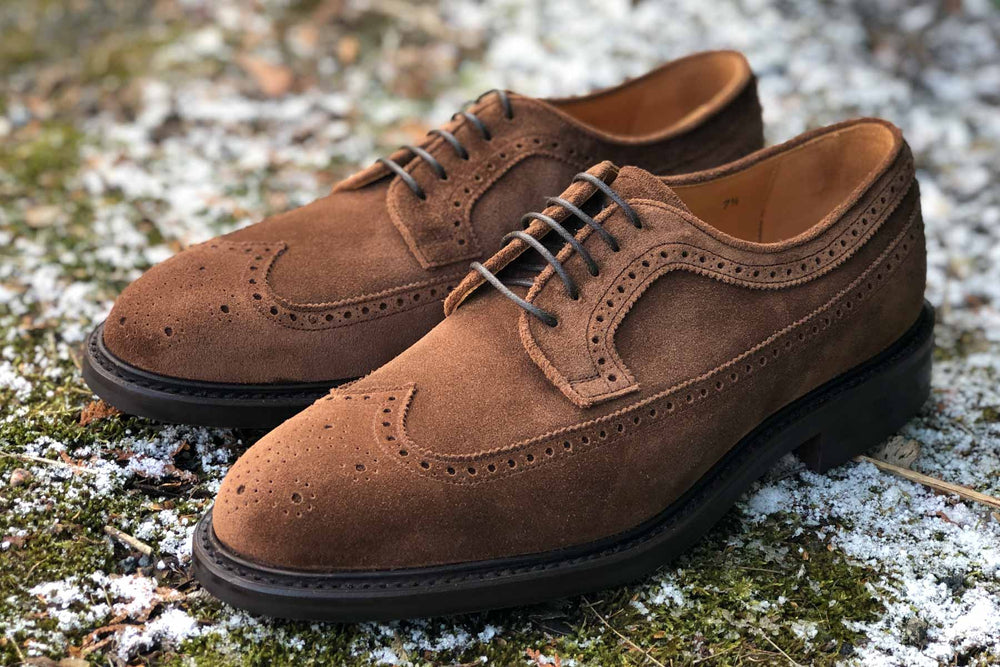 Carlos Santos 1046 Longwing Brogue in Mid Brown Suede for The Noble Shoe 3