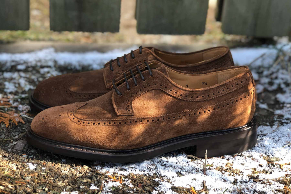 Carlos Santos 1046 Longwing Brogue in Mid Brown Suede for The Noble Shoe 8