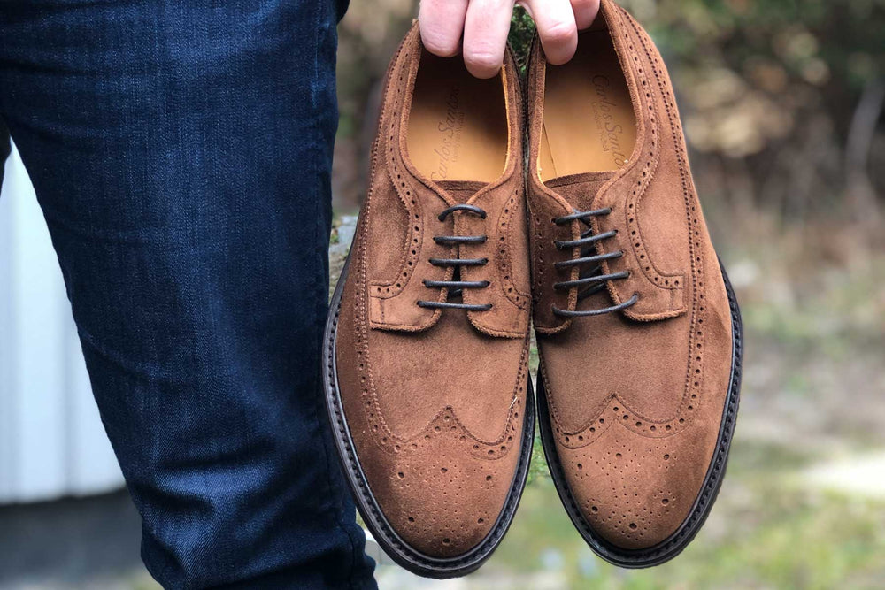 Carlos Santos 1046 Longwing Brogue in Mid Brown Suede for The Noble Shoe 1