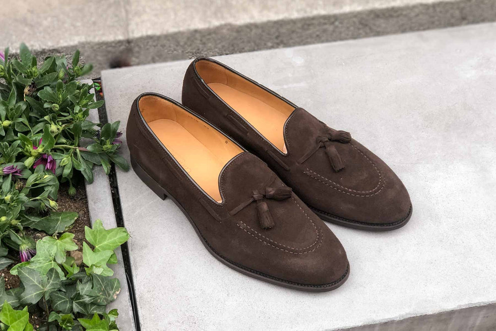 Carlos Santos 4210 Tassel Loafers in Dark Brown Suede for The Noble Shoe 1