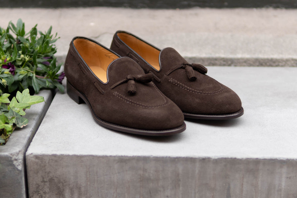 Carlos Santos 4210 Tassel Loafers in Dark Brown Suede for The Noble Shoe 2