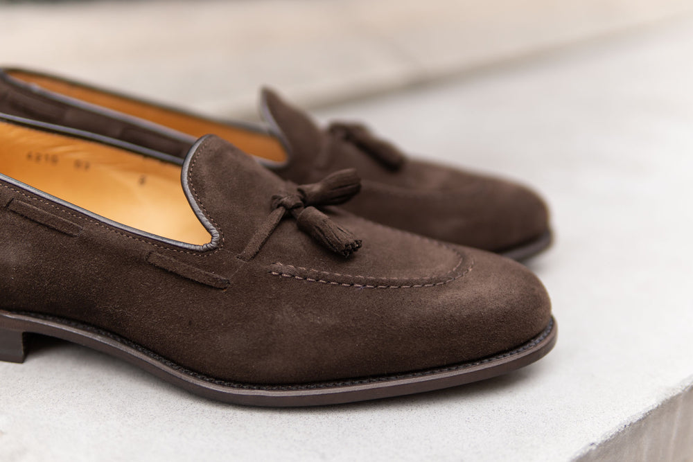 Carlos Santos 4210 Tassel Loafers in Dark Brown Suede for The Noble Shoe 5