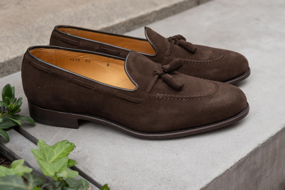 Carlos Santos 4210 Tassel Loafers in Dark Brown Suede for The Noble Shoe 3