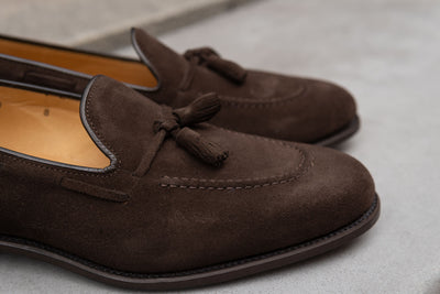 Carlos Santos 4210 Tassel Loafers in Dark Brown Suede for The Noble Shoe 6