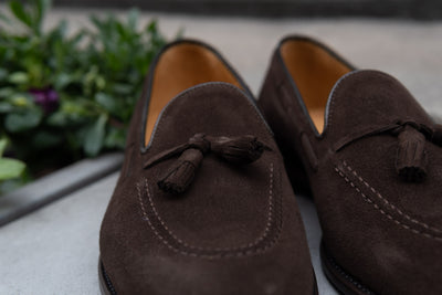 Carlos Santos 4210 Tassel Loafers in Dark Brown Suede for The Noble Shoe 9
