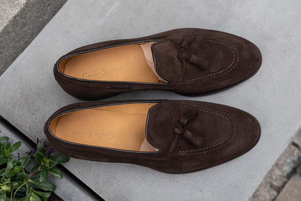 Carlos Santos 4210 Tassel Loafers in Dark Brown Suede for The Noble Shoe 4