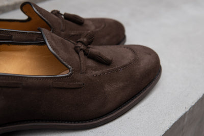 Carlos Santos 4210 Tassel Loafers in Dark Brown Suede