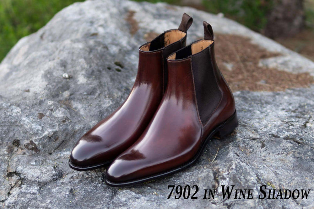 Carlos Santos 7902 Chelsea Boots in Wine Shadow Patina for The Noble Shoe
