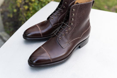 Carlos Santos 9156 Field Boots In Dark Brown Grain/Brown Calf