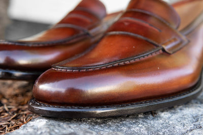 Carlos Santos 9176 Penny Loafers in Wine Shadow Patina for The Noble Shoe 12