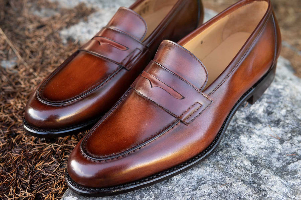 Carlos Santos 9176 Penny Loafers in Wine Shadow Patina for The Noble Shoe 11