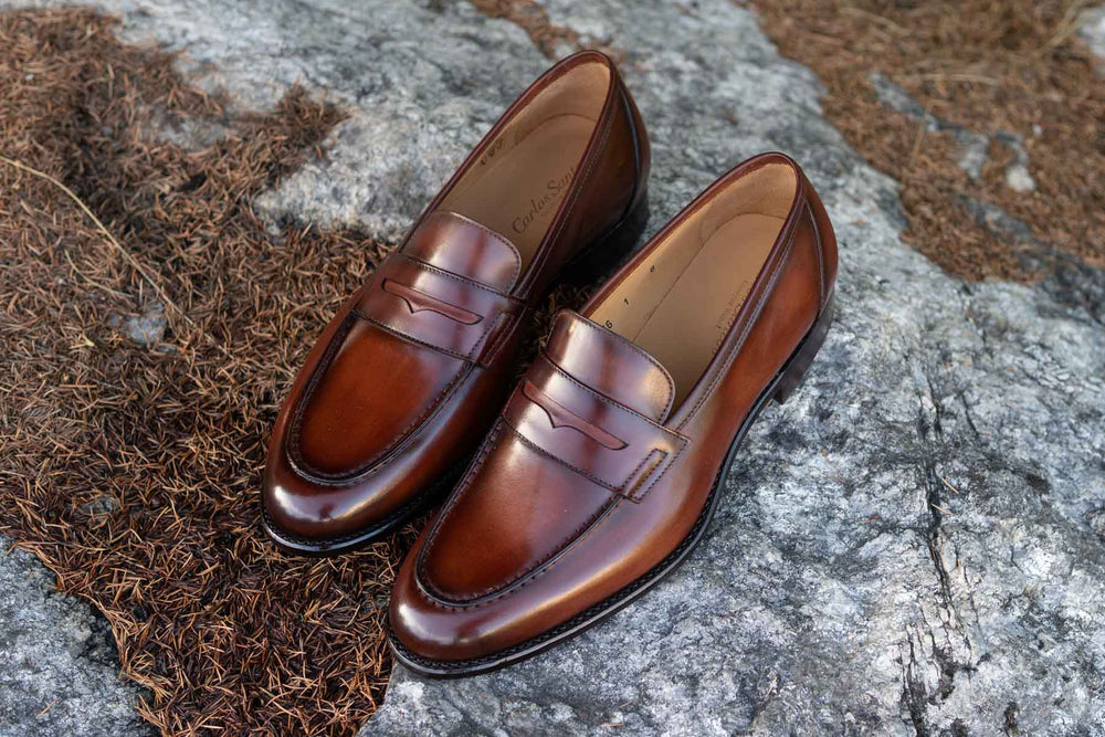 Carlos Santos 9176 Penny Loafers in Wine Shadow Patina for The Noble Shoe 10