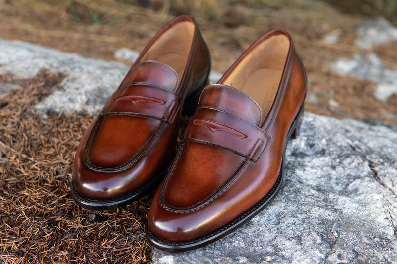 Carlos Santos 9176 Penny Loafers in Wine Shadow Patina for The Noble Shoe 14