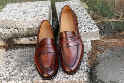Carlos Santos 9176 Penny Loafers in Wine Shadow Patina for The Noble Shoe 15