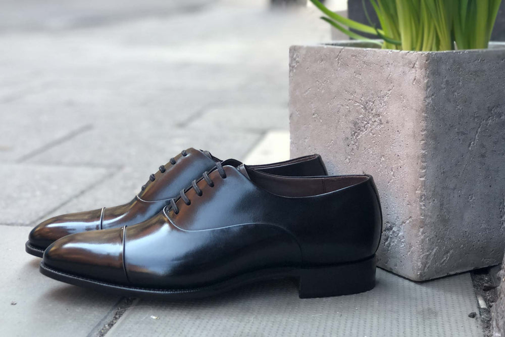 Carlos Santos 9899 Handgrade Oxford in Black Calf for The Noble Shoe 10