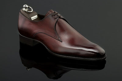Carlos Santos CS14 Handcrafted V-Front Derby in Bordo Shadow for The Noble Shoe