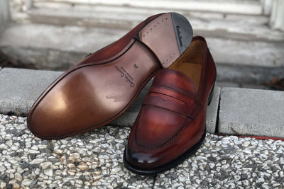 Carlos Santos 9176 Penny Loafer for The Noble Shoe - Sole and Front