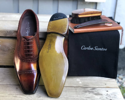 Carlos Santos Handgrade Adelaide Oxford in Wine Shadow Sole and Front