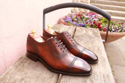 Carlos Santos Handgrade Adelaide Oxford in Wine Shadow Both Shoes