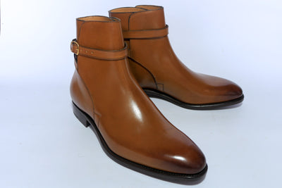Carlos Santos 4125 Jodhpur Boots in Cognac Calf Right Side Diagona
