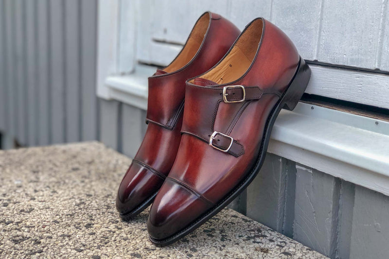 Carlos Santos 6942 Double Monk-Straps In Wine Calf