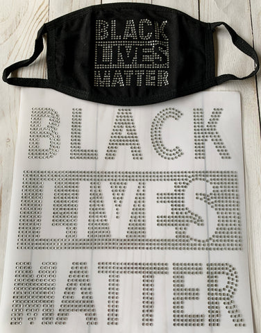 Black Lives Matter Rhinestone Face Covering