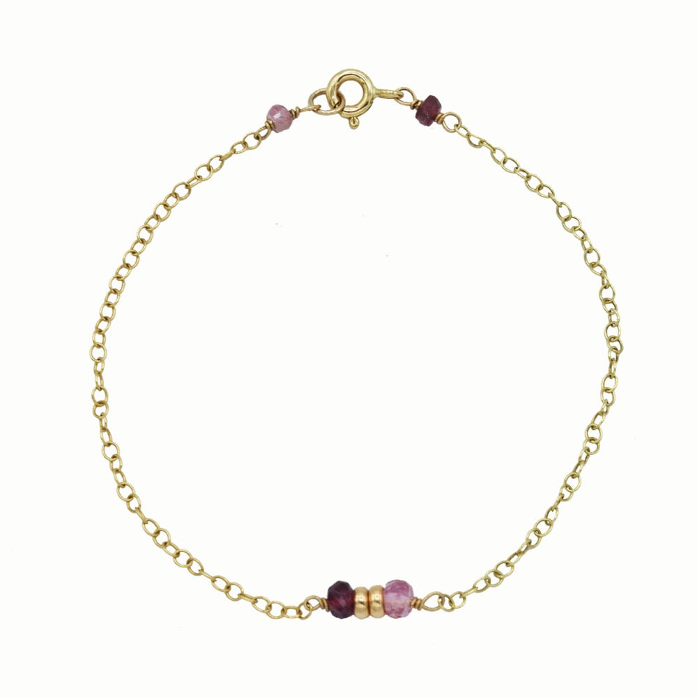 Gold bracelet with pink tourmaline