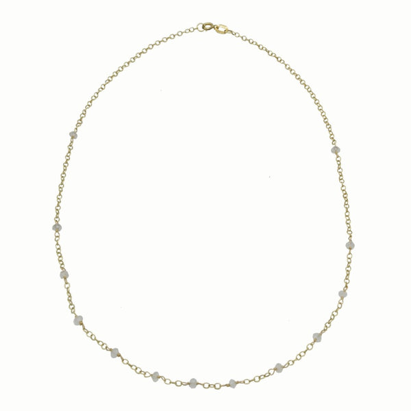 Gold necklace with moonstone beads