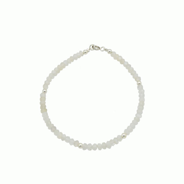 Silver and moonstone bracelet