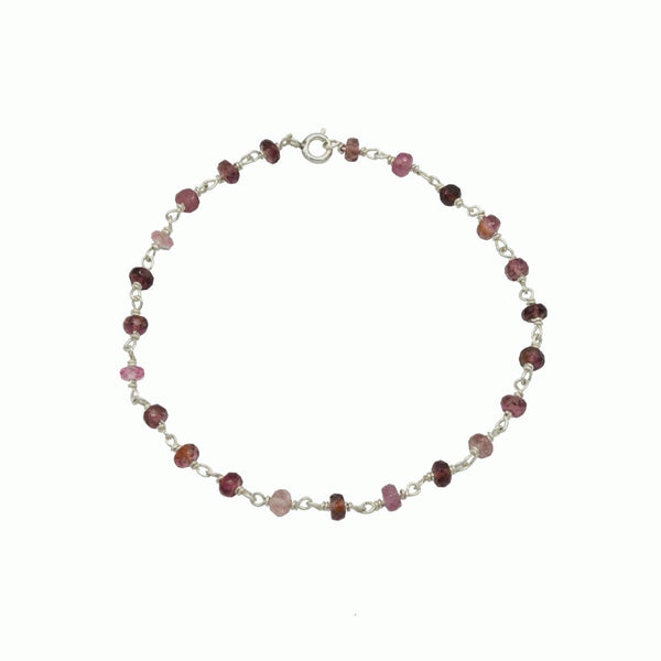Pink tourmaline and silver bracelet